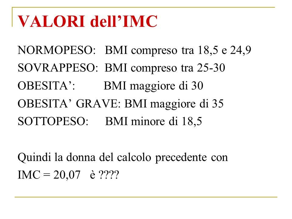 VALORI dellIMC NORMOPESO: BMI compreso tra 18,5 e 24,9 SOVRAPPESO: BMI compreso tra 25-30 OBESITA: BMI maggiore di 30 OBESITA GRAVE: BMI maggiore di 35 SOTTOPESO: BMI minore di 18,5 Quindi la donna del calcolo precedente con IMC = 20,07 è ????