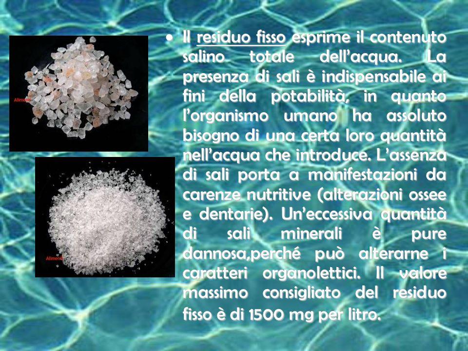 La durezza è data dal contenuto in sali alcalino terrosi, principalmente calcio e magnesio.