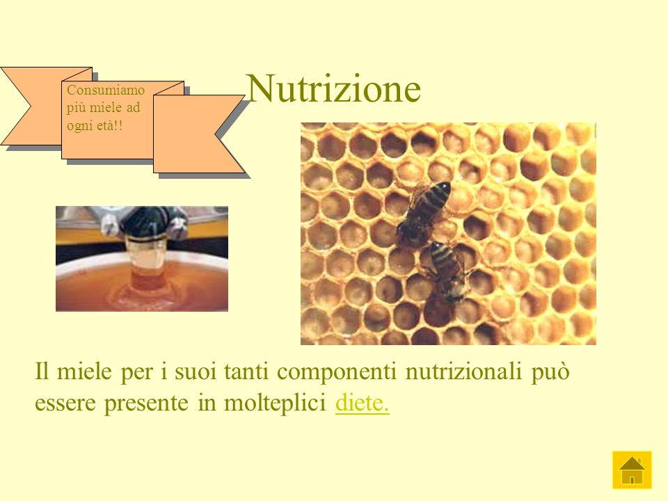 Nutrizione Il miele per i suoi tanti componenti nutrizionali può essere presente in molteplici diete.diete. Consumiamo più miele ad ogni età!!