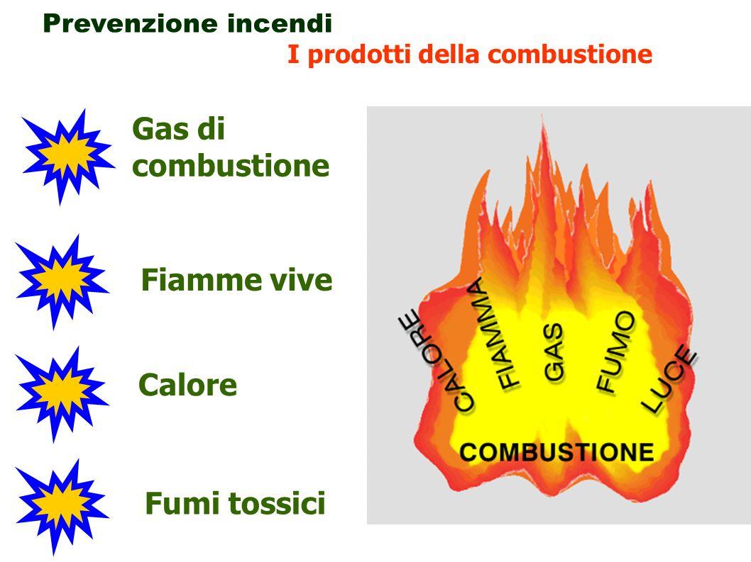 21 Prevenzione incendi I prodotti della combustione Fumi tossici Calore Fiamme vive Gas di combustione