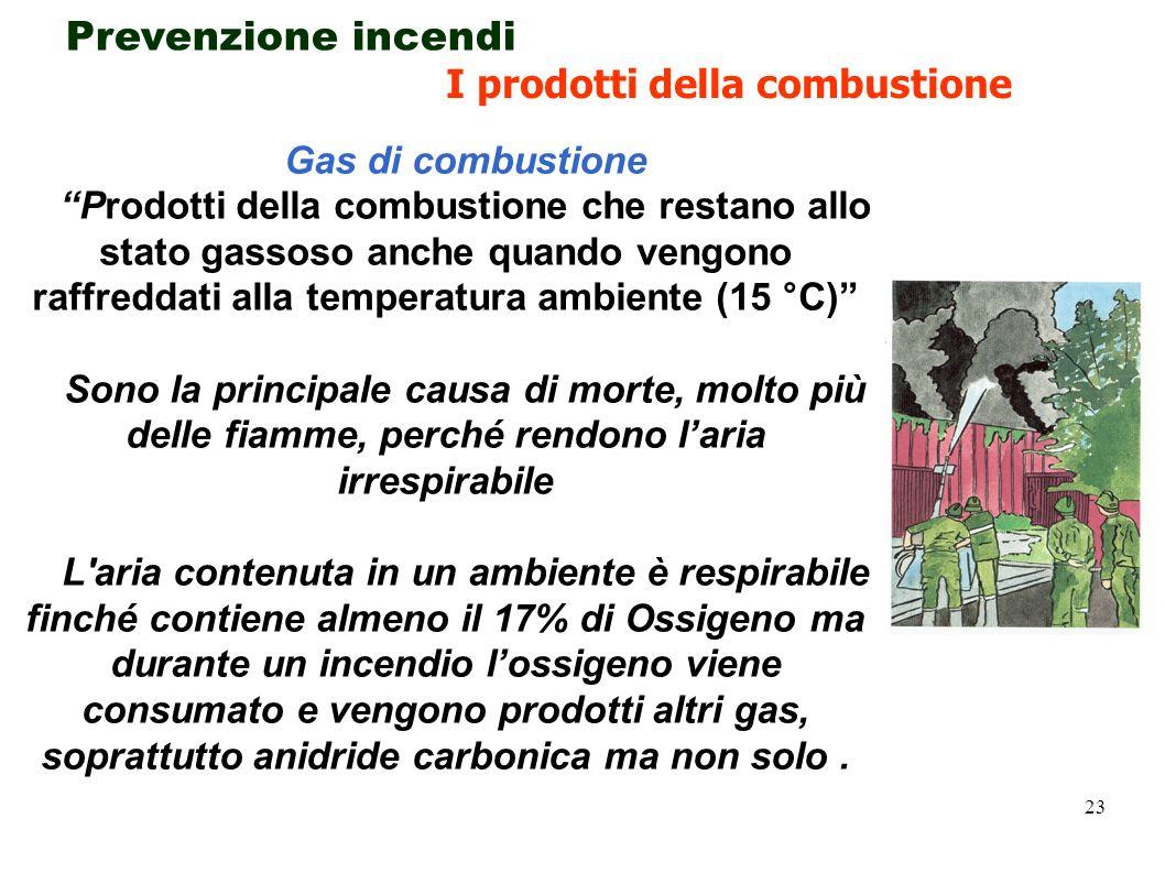 23 Gas di combustione Prodotti della combustione che restano allo stato gassoso anche quando vengono raffreddati alla temperatura ambiente (15 °C) Son