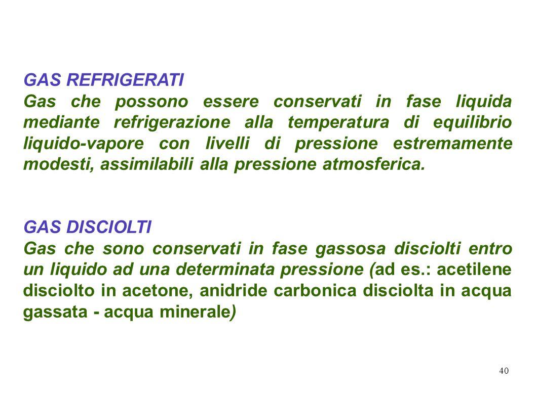 40 GAS REFRIGERATI Gas che possono essere conservati in fase liquida mediante refrigerazione alla temperatura di equilibrio liquido-vapore con livelli