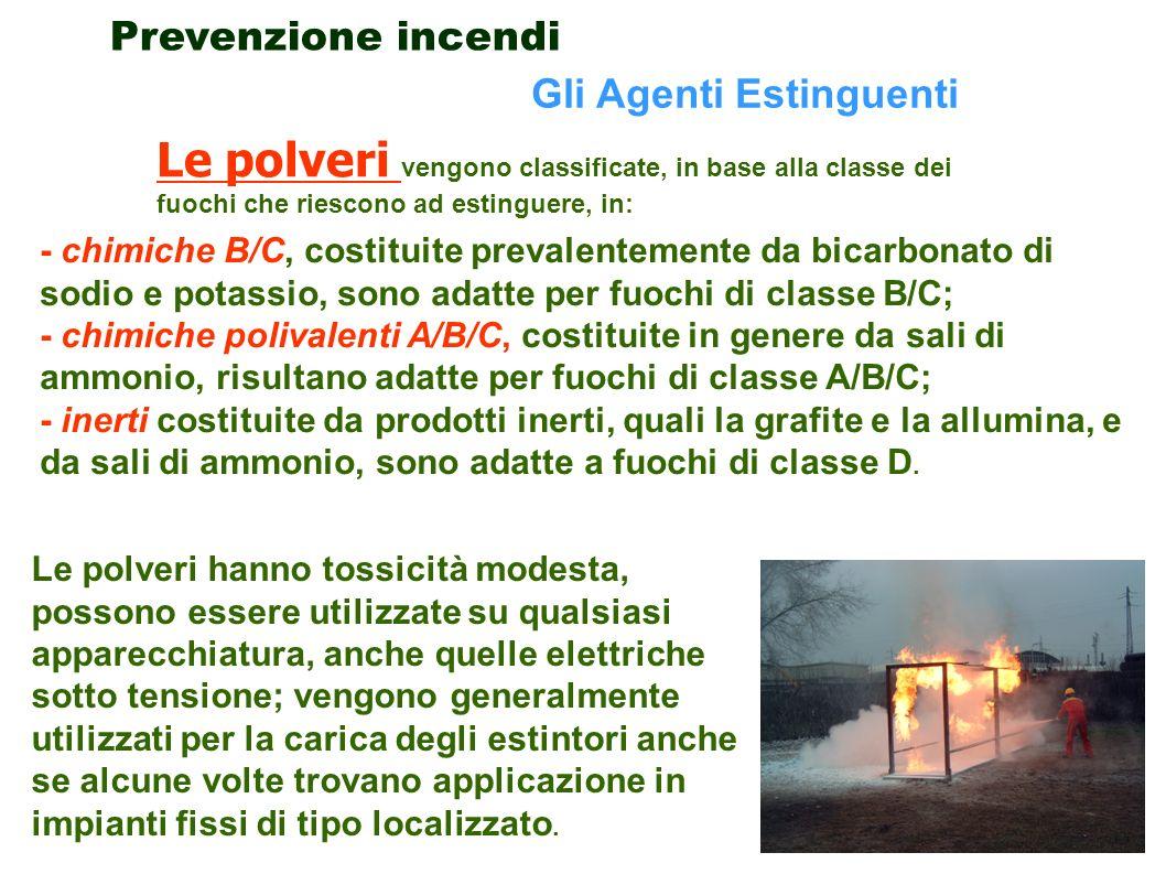 44 - chimiche B/C, costituite prevalentemente da bicarbonato di sodio e potassio, sono adatte per fuochi di classe B/C; - chimiche polivalenti A/B/C,