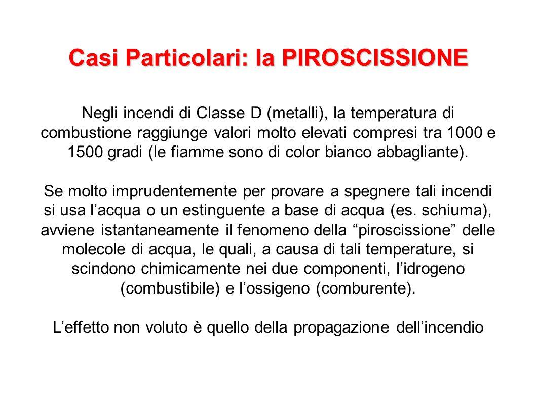 Casi Particolari: la PIROSCISSIONE Negli incendi di Classe D (metalli), la temperatura di combustione raggiunge valori molto elevati compresi tra 1000