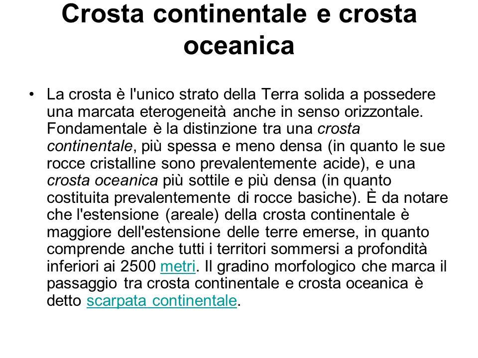 Crosta continentale e crosta oceanica La crosta è l'unico strato della Terra solida a possedere una marcata eterogeneità anche in senso orizzontale. F