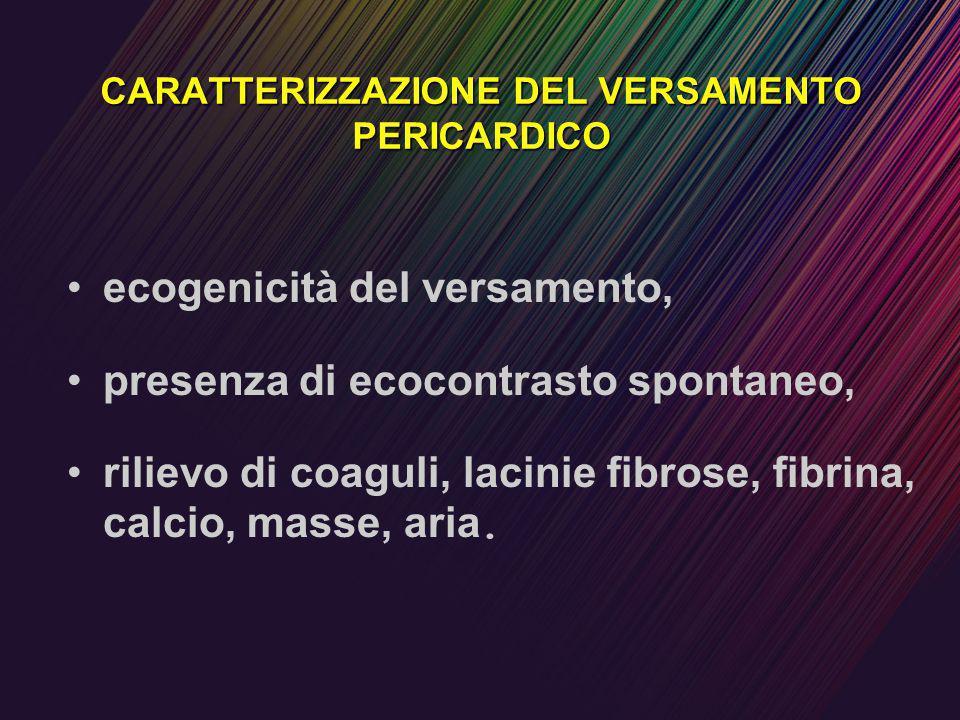 CARATTERIZZAZIONE DEL VERSAMENTO PERICARDICO ecogenicità del versamento, presenza di ecocontrasto spontaneo, rilievo di coaguli, lacinie fibrose, fibr
