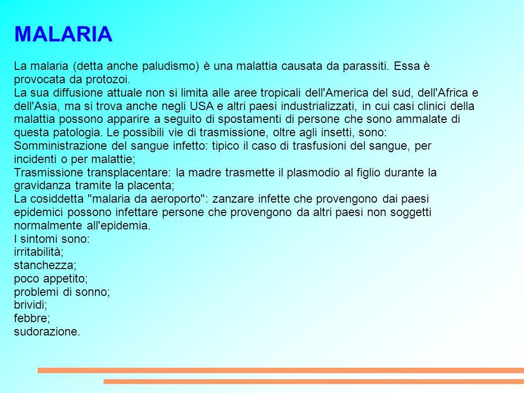 MALARIA La malaria (detta anche paludismo) è una malattia causata da parassiti.