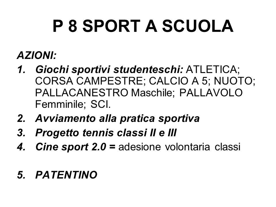 P 8 SPORT A SCUOLA AZIONI: 1.Giochi sportivi studenteschi: ATLETICA; CORSA CAMPESTRE; CALCIO A 5; NUOTO; PALLACANESTRO Maschile; PALLAVOLO Femminile;