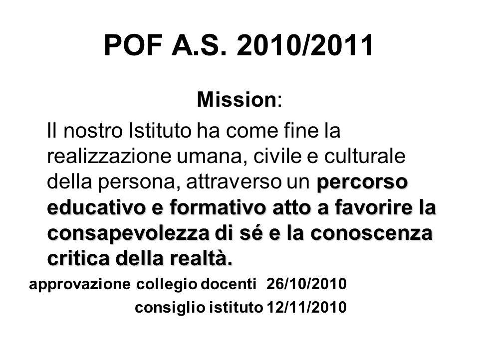 POF A.S. 2010/2011 Mission: percorso educativo e formativo atto a favorire la consapevolezza di sé e la conoscenza critica della realtà. Il nostro Ist