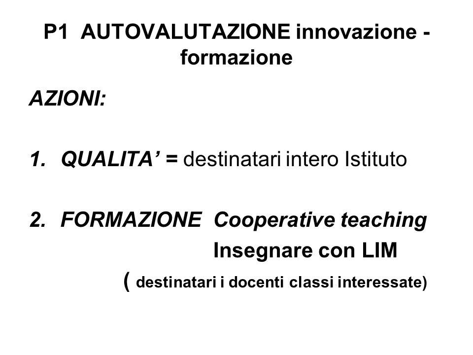 P1 AUTOVALUTAZIONE innovazione - formazione AZIONI: 1.QUALITA = destinatari intero Istituto 2.FORMAZIONE Cooperative teaching Insegnare con LIM ( dest