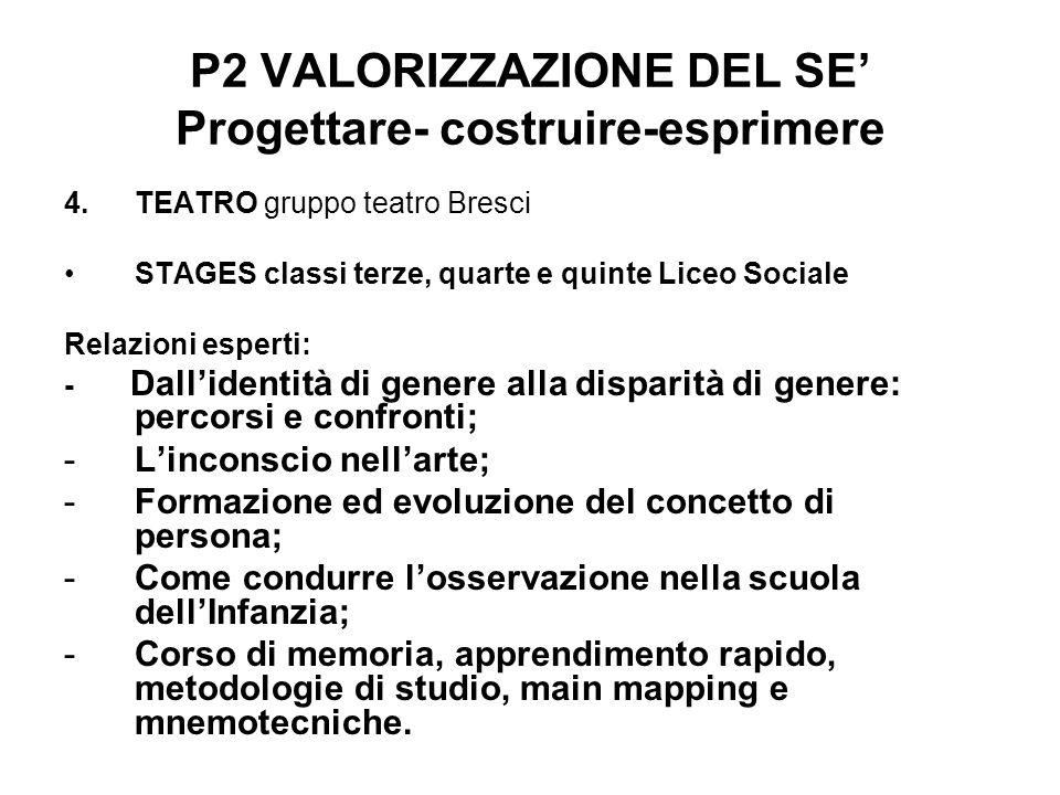 P2 VALORIZZAZIONE DEL SE Progettare- costruire-esprimere 4.TEATRO gruppo teatro Bresci STAGES classi terze, quarte e quinte Liceo Sociale Relazioni es