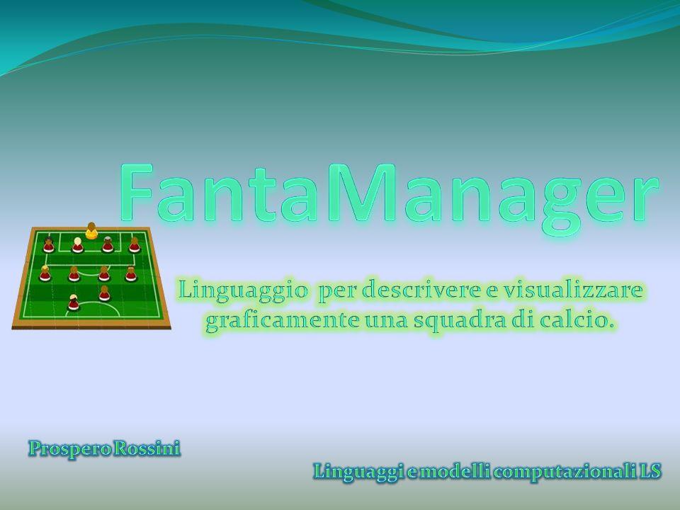 MainClass ControlClass control FantaManagerGUI … gui PlayersFileReader XLSProcessor PrintToPDF fileUtility FantaManagerParserTokenManager FantaManagerParser … parser Nome Nome Squadra … syntaxtree Visitor DepthFirstVisitor FantaManagerVisitor … visitor Player TeamMaker SoccerFieldMaker TeamScoreCalculator team -classe creata automaticamente; -effettua lanalisi lessicale (individua i token che compongono la stringa in input).