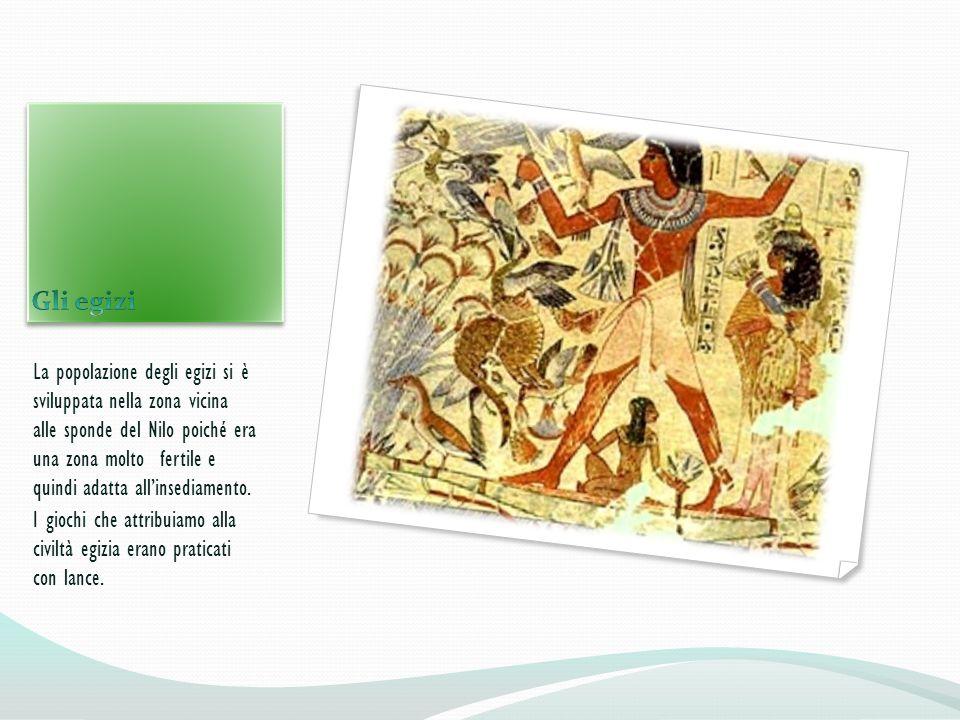La popolazione degli egizi si è sviluppata nella zona vicina alle sponde del Nilo poiché era una zona molto fertile e quindi adatta allinsediamento. I