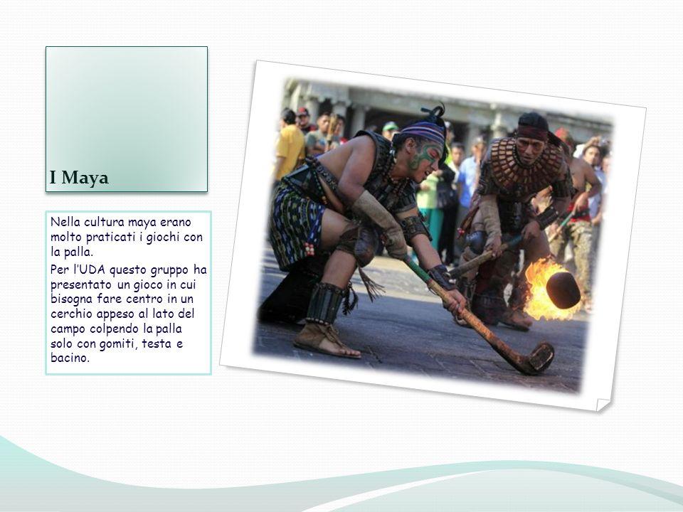 I Maya Nella cultura maya erano molto praticati i giochi con la palla. Per lUDA questo gruppo ha presentato un gioco in cui bisogna fare centro in un