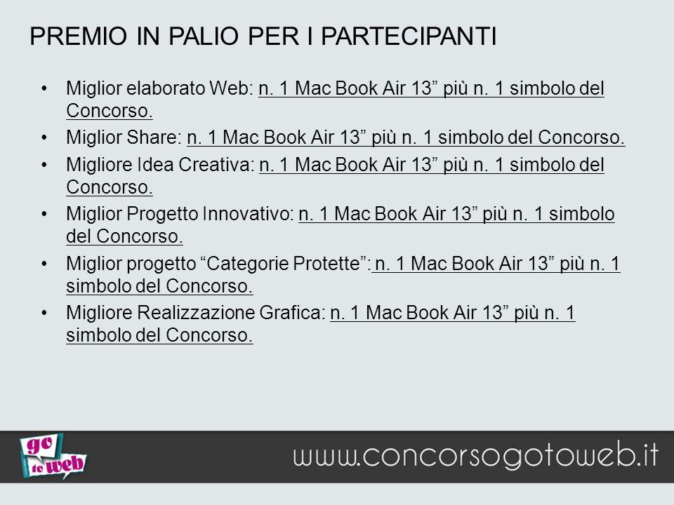 Miglior elaborato Web: n. 1 Mac Book Air 13 più n. 1 simbolo del Concorso. Miglior Share: n. 1 Mac Book Air 13 più n. 1 simbolo del Concorso. Migliore