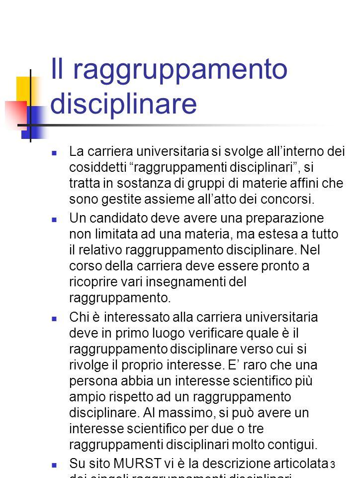3 Il raggruppamento disciplinare La carriera universitaria si svolge allinterno dei cosiddetti raggruppamenti disciplinari, si tratta in sostanza di g