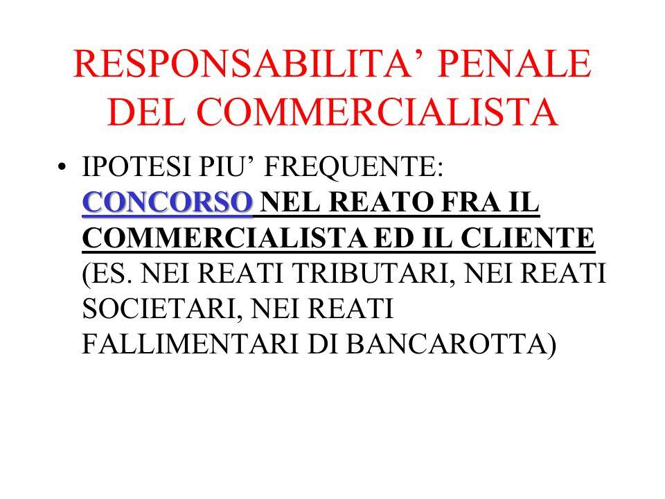RESPONSABILITA PENALE DEL COMMERCIALISTA CONCORSOIPOTESI PIU FREQUENTE: CONCORSO NEL REATO FRA IL COMMERCIALISTA ED IL CLIENTE (ES.