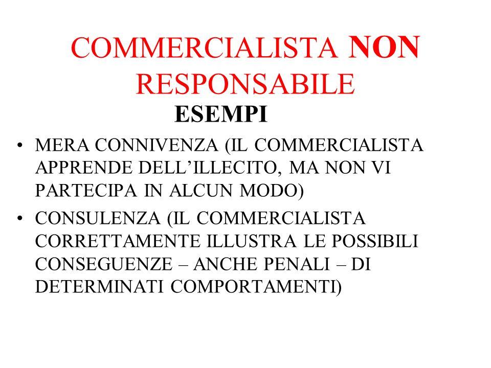 COMMERCIALISTA NON RESPONSABILE ESEMPI MERA CONNIVENZA (IL COMMERCIALISTA APPRENDE DELLILLECITO, MA NON VI PARTECIPA IN ALCUN MODO) CONSULENZA (IL COMMERCIALISTA CORRETTAMENTE ILLUSTRA LE POSSIBILI CONSEGUENZE – ANCHE PENALI – DI DETERMINATI COMPORTAMENTI)