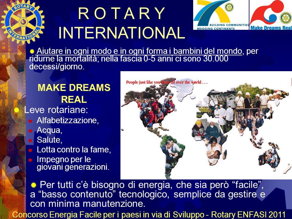 R O T A R Y INTERNATIONAL Concorso Energia Facile per i paesi in via di Sviluppo - Rotary ENFASI 2011 MAKE DREAMS REAL Leve rotariane: Alfabetizzazione, Acqua, Salute, Lotta contro la fame, Impegno per le giovani generazioni.