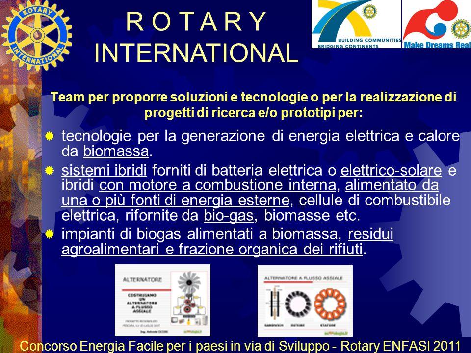 R O T A R Y INTERNATIONAL Concorso Energia Facile per i paesi in via di Sviluppo - Rotary ENFASI 2011 Team per proporre soluzioni e tecnologie o per la realizzazione di progetti di ricerca e/o prototipi per: tecnologie per la generazione di energia elettrica e calore da biomassa.