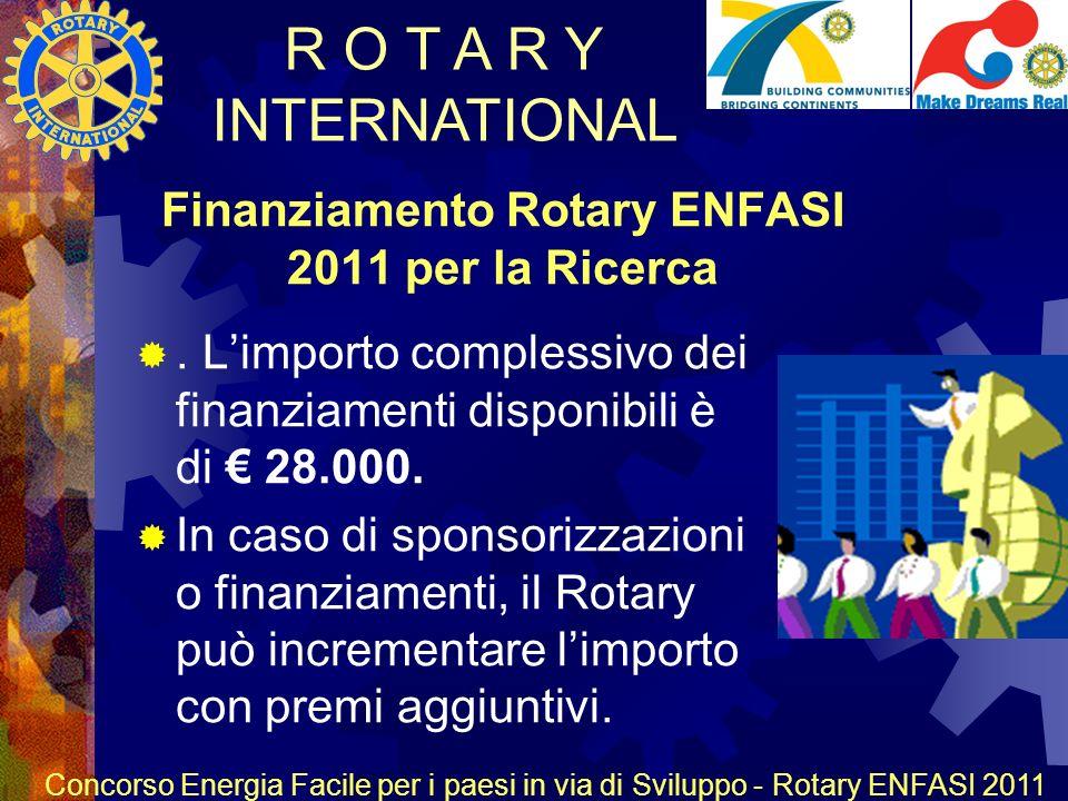R O T A R Y INTERNATIONAL Concorso Energia Facile per i paesi in via di Sviluppo - Rotary ENFASI 2011 Finanziamento Rotary ENFASI 2011 per la Ricerca.