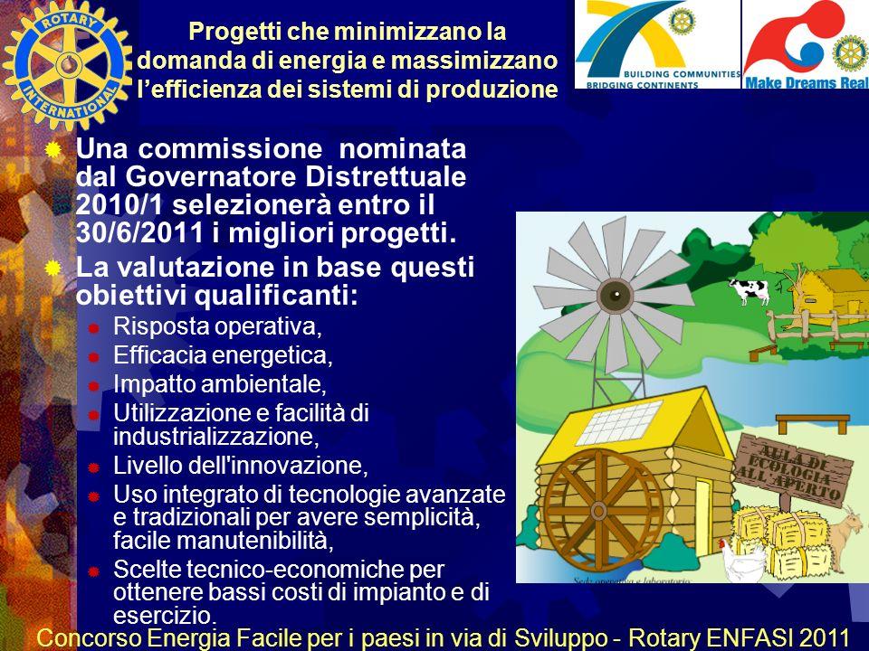 R O T A R Y INTERNATIONAL Concorso Energia Facile per i paesi in via di Sviluppo - Rotary ENFASI 2011 Una commissione nominata dal Governatore Distrettuale 2010/1 selezionerà entro il 30/6/2011 i migliori progetti.