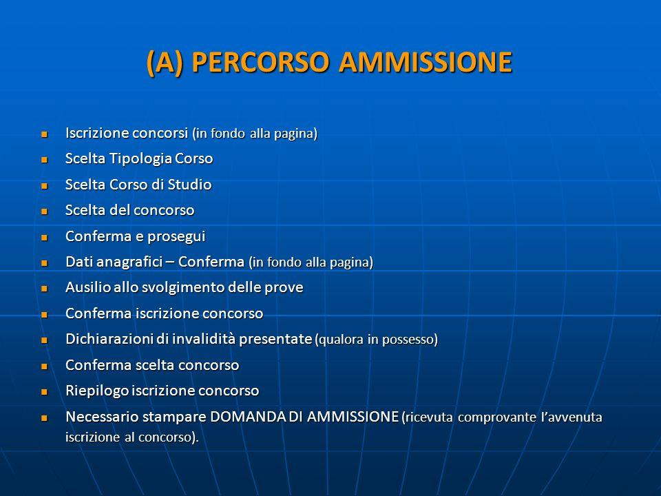 (A) PERCORSO AMMISSIONE Iscrizione concorsi (in fondo alla pagina) Iscrizione concorsi (in fondo alla pagina) Scelta Tipologia Corso Scelta Tipologia