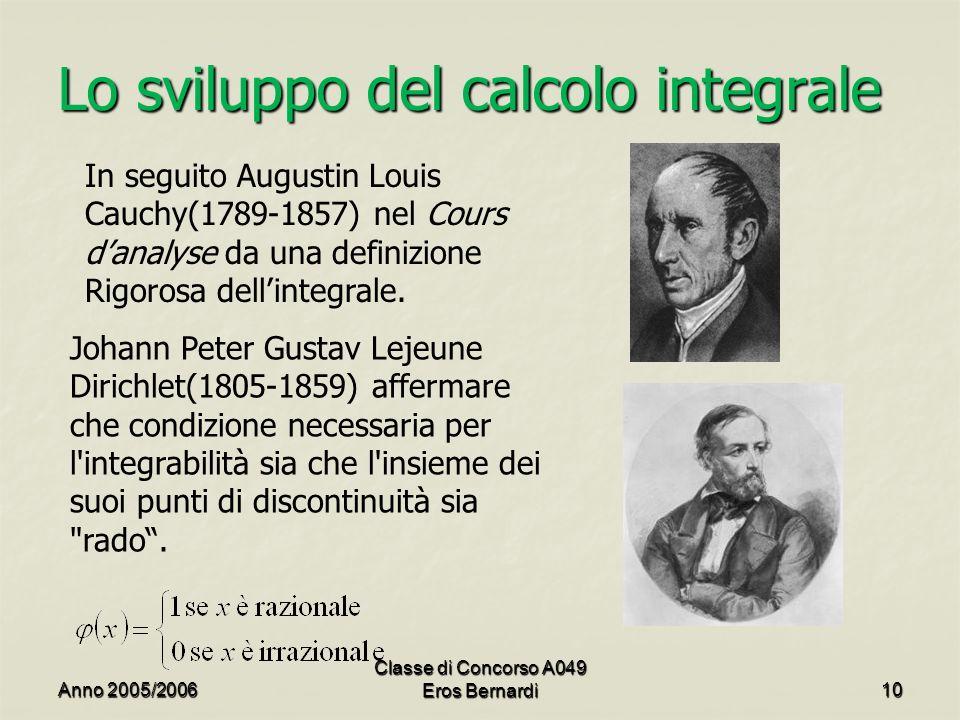 Lo sviluppo del calcolo integrale In seguito Augustin Louis Cauchy(1789-1857) nel Cours danalyse da una definizione Rigorosa dellintegrale.