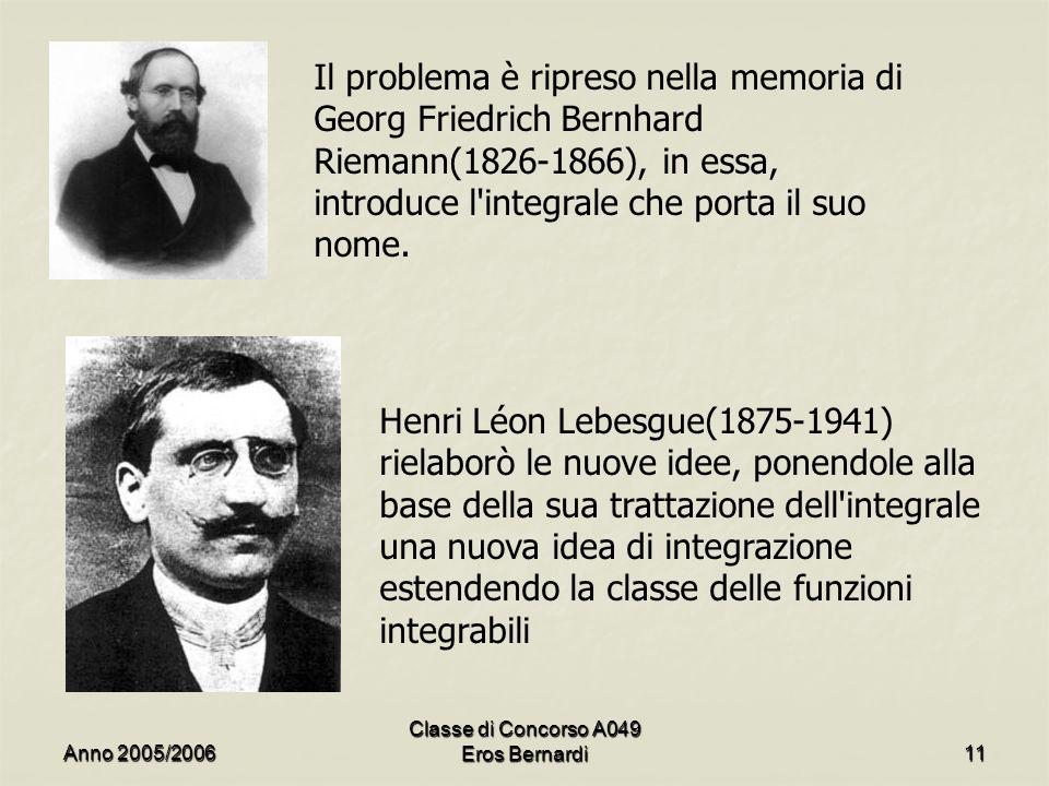 Il problema è ripreso nella memoria di Georg Friedrich Bernhard Riemann(1826-1866), in essa, introduce l'integrale che porta il suo nome. Henri Léon L