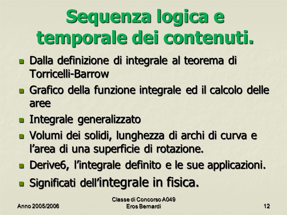 Sequenza logica e temporale dei contenuti. Dalla definizione di integrale al teorema di Torricelli-Barrow Dalla definizione di integrale al teorema di