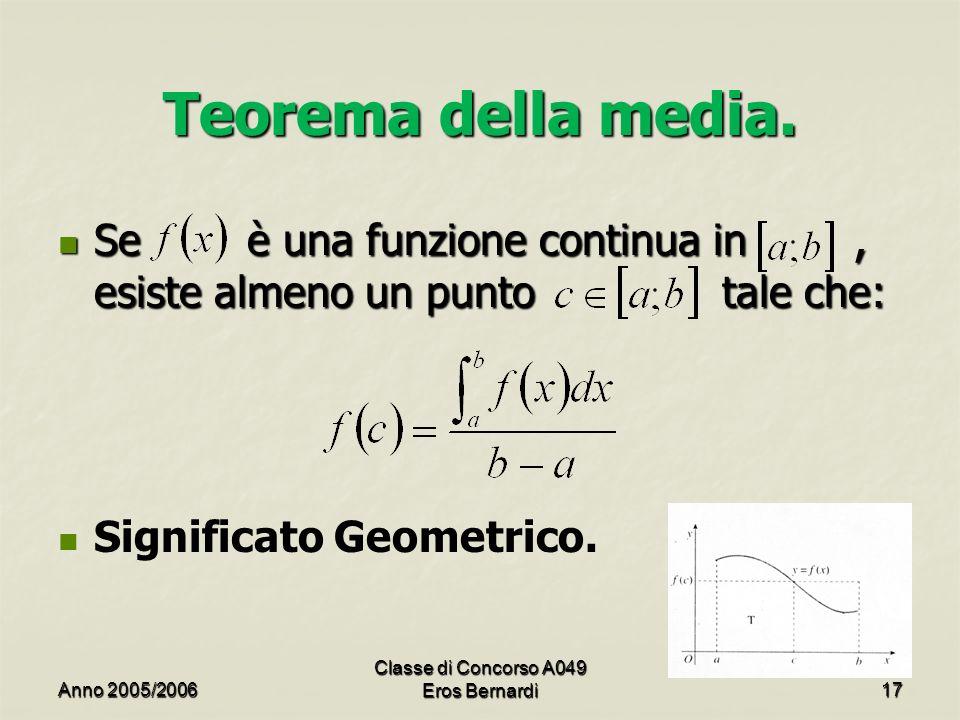 Teorema della media. Se è una funzione continua in, esiste almeno un punto tale che: Se è una funzione continua in, esiste almeno un punto tale che: S