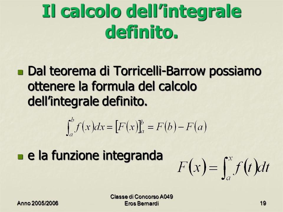 Il calcolo dellintegrale definito. Dal teorema di Torricelli-Barrow possiamo ottenere la formula del calcolo dellintegrale definito. Dal teorema di To