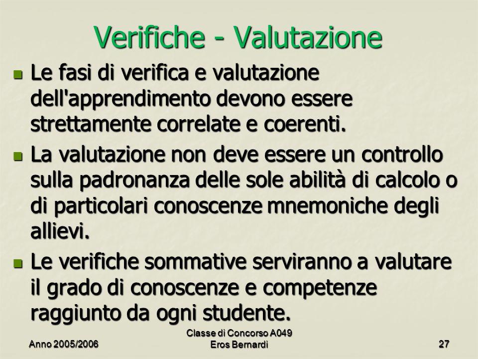 Verifiche - Valutazione Le fasi di verifica e valutazione dell'apprendimento devono essere strettamente correlate e coerenti. Le fasi di verifica e va
