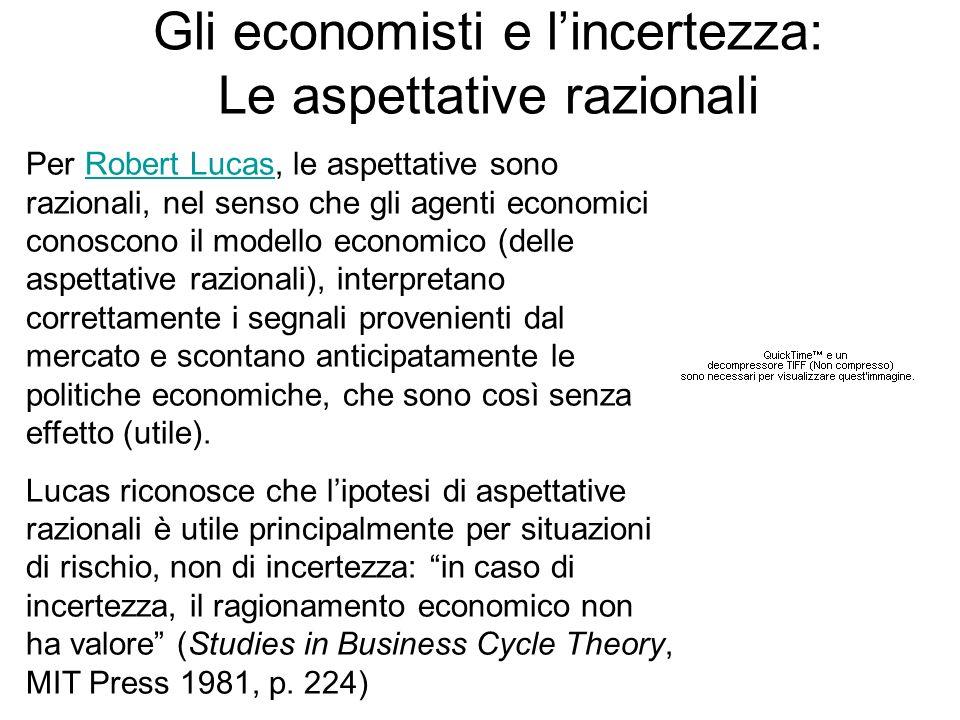 Gli economisti e lincertezza: Le aspettative razionali Per Robert Lucas, le aspettative sono razionali, nel senso che gli agenti economici conoscono i