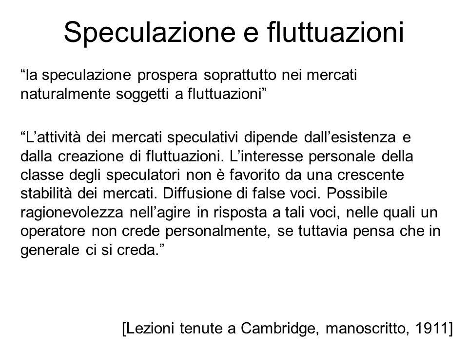 Speculazione e fluttuazioni [Lezioni tenute a Cambridge, manoscritto, 1911] la speculazione prospera soprattutto nei mercati naturalmente soggetti a f