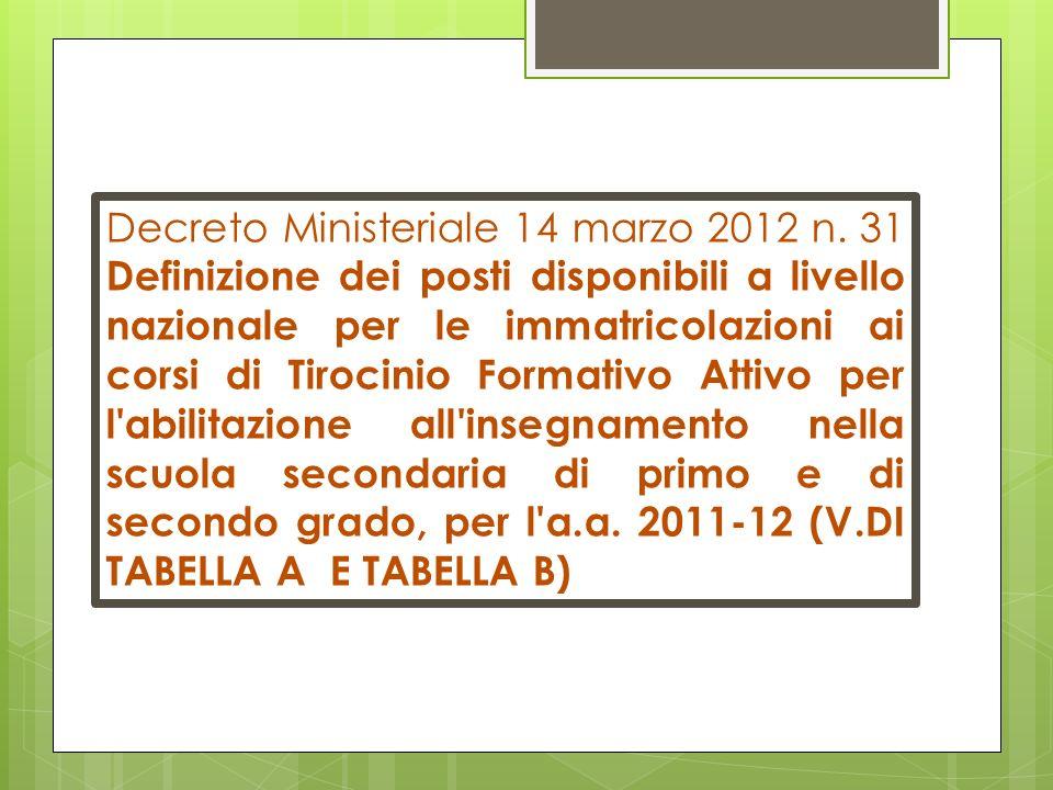 Decreto Ministeriale 14 marzo 2012 n. 31 Definizione dei posti disponibili a livello nazionale per le immatricolazioni ai corsi di Tirocinio Formativo