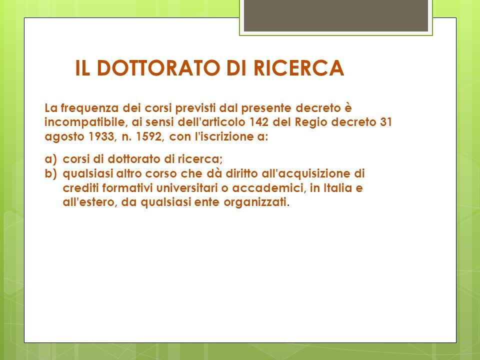 La frequenza dei corsi previsti dal presente decreto è incompatibile, ai sensi dell'articolo 142 del Regio decreto 31 agosto 1933, n. 1592, con l'iscr