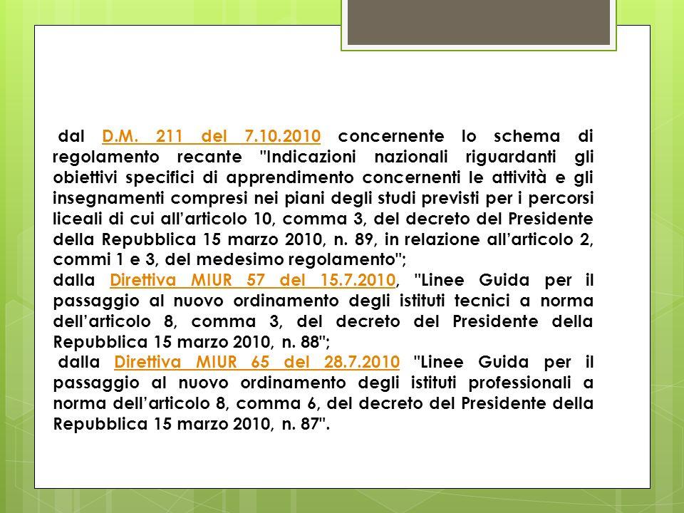 dal D.M. 211 del 7.10.2010 concernente lo schema di regolamento recante