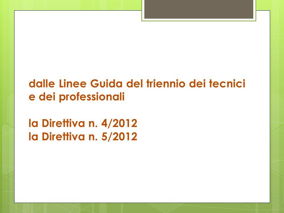 dalle Linee Guida del triennio dei tecnici e dei professionali la Direttiva n. 4/2012 la Direttiva n. 5/2012