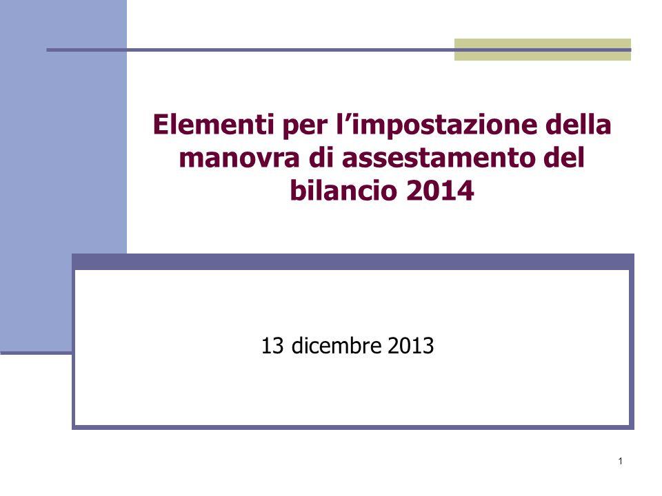 1 Elementi per limpostazione della manovra di assestamento del bilancio 2014 13 dicembre 2013