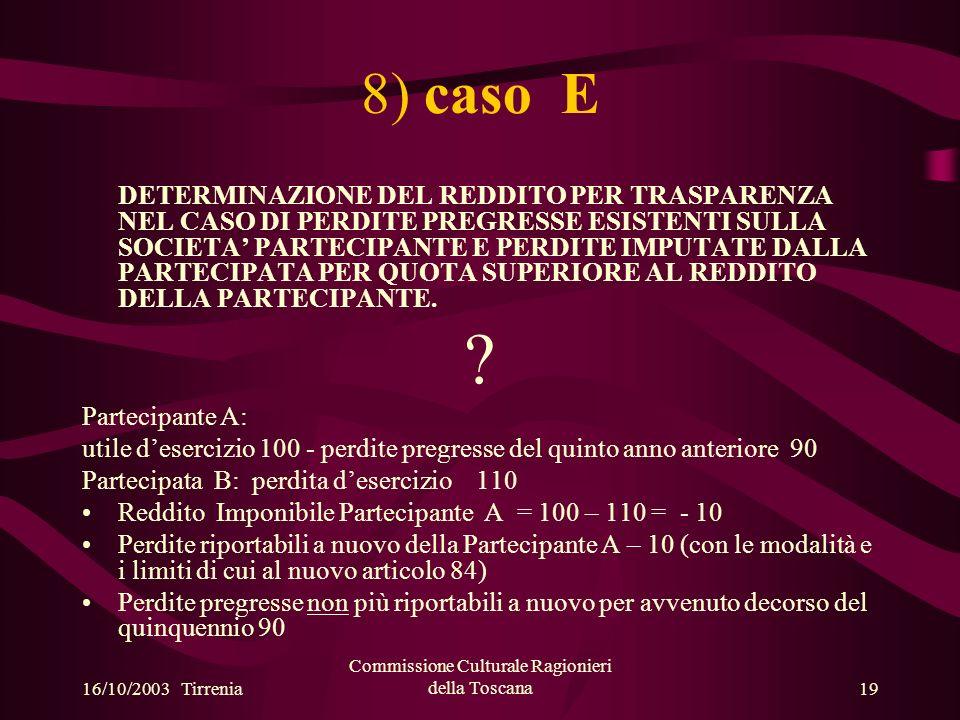 16/10/2003 Tirrenia Commissione Culturale Ragionieri della Toscana19 8) caso E DETERMINAZIONE DEL REDDITO PER TRASPARENZA NEL CASO DI PERDITE PREGRESSE ESISTENTI SULLA SOCIETA PARTECIPANTE E PERDITE IMPUTATE DALLA PARTECIPATA PER QUOTA SUPERIORE AL REDDITO DELLA PARTECIPANTE.