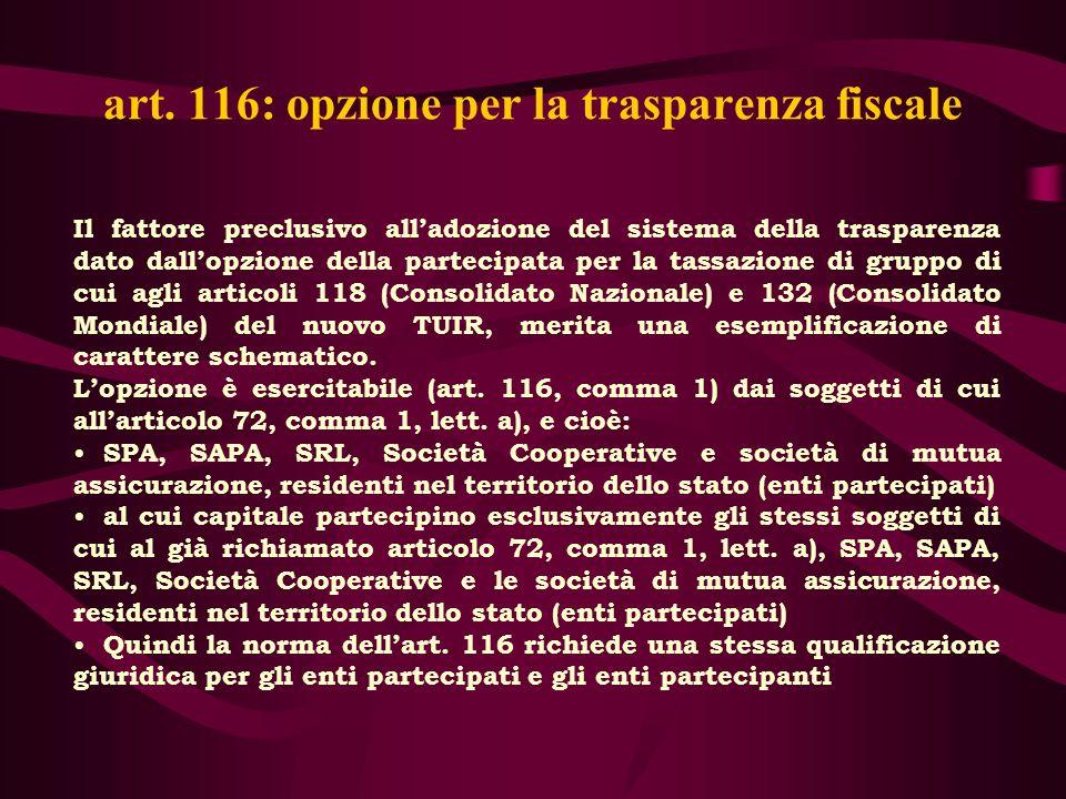 art. 116: opzione per la trasparenza fiscale Il fattore preclusivo alladozione del sistema della trasparenza dato dallopzione della partecipata per la