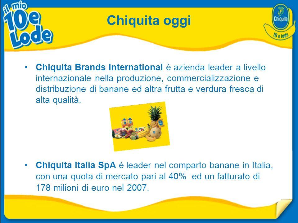 Chiquita oggi Chiquita Brands International è azienda leader a livello internazionale nella produzione, commercializzazione e distribuzione di banane ed altra frutta e verdura fresca di alta qualità.