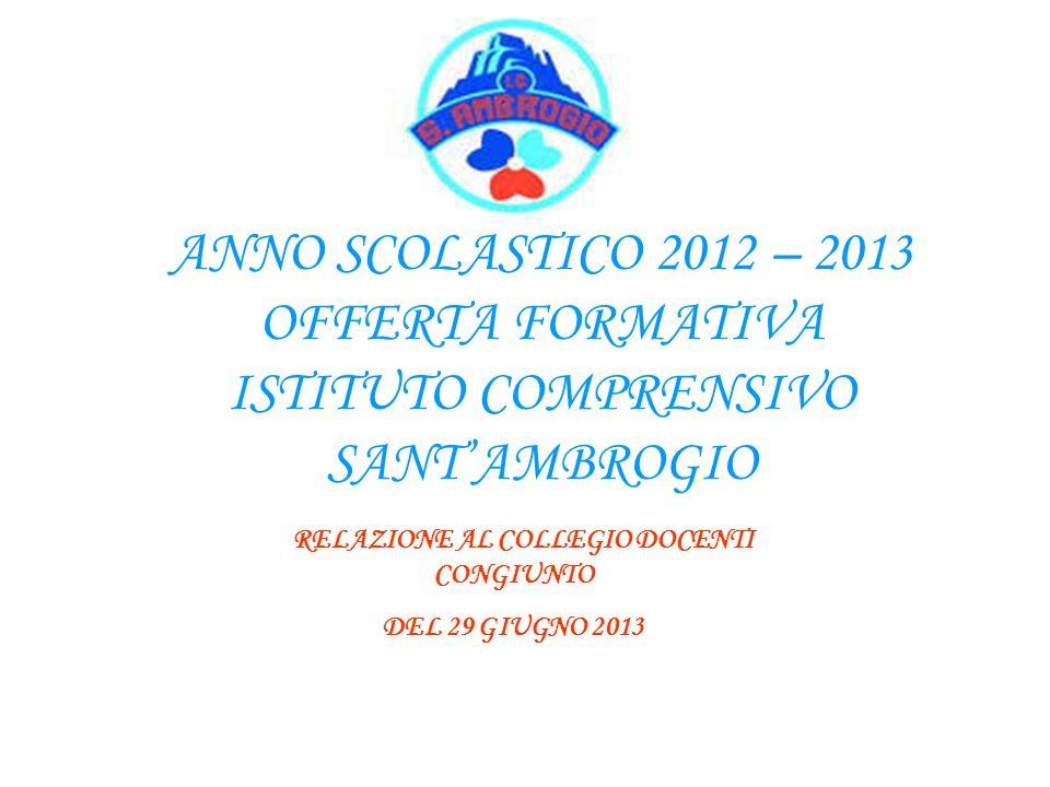 ANNO SCOLASTICO 2012 – 2013 OFFERTA FORMATIVA ISTITUTO COMPRENSIVO SANTAMBROGIO RELAZIONE AL COLLEGIO DOCENTI CONGIUNTO DEL 29 GIUGNO 2013