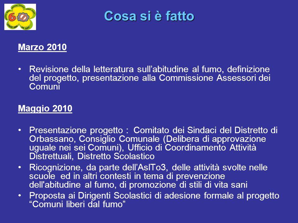 Cosa si è fatto Marzo 2010 Revisione della letteratura sullabitudine al fumo, definizione del progetto, presentazione alla Commissione Assessori dei C