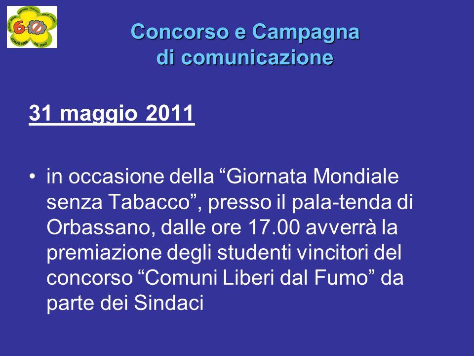 31 maggio 2011 in occasione della Giornata Mondiale senza Tabacco, presso il pala-tenda di Orbassano, dalle ore 17.00 avverrà la premiazione degli studenti vincitori del concorso Comuni Liberi dal Fumo da parte dei Sindaci Concorso e Campagna di comunicazione