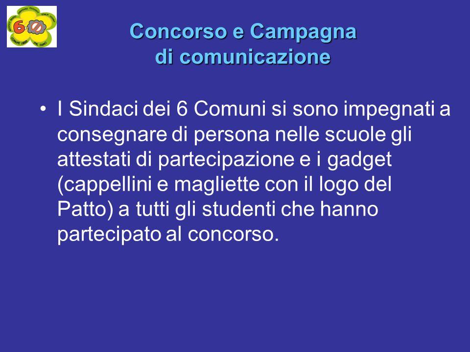 I Sindaci dei 6 Comuni si sono impegnati a consegnare di persona nelle scuole gli attestati di partecipazione e i gadget (cappellini e magliette con i