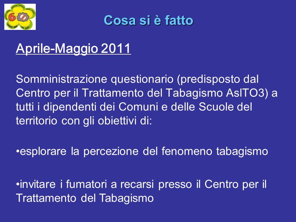 Aprile-Maggio 2011 Somministrazione questionario (predisposto dal Centro per il Trattamento del Tabagismo AslTO3) a tutti i dipendenti dei Comuni e de
