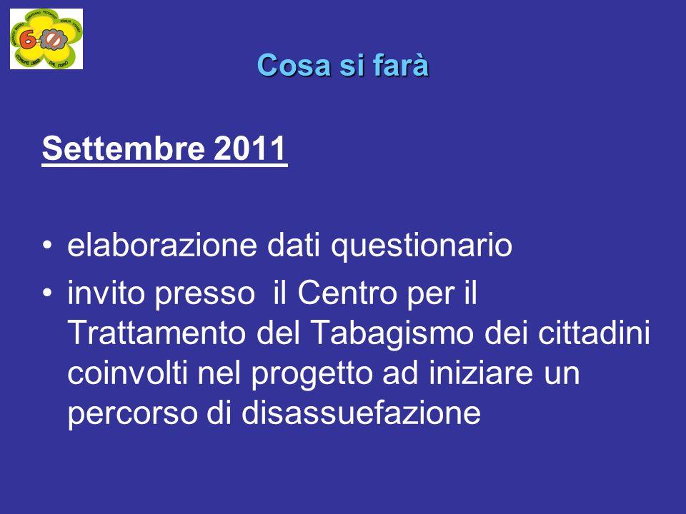 Settembre 2011 elaborazione dati questionario invito presso il Centro per il Trattamento del Tabagismo dei cittadini coinvolti nel progetto ad iniziare un percorso di disassuefazione Cosa si farà