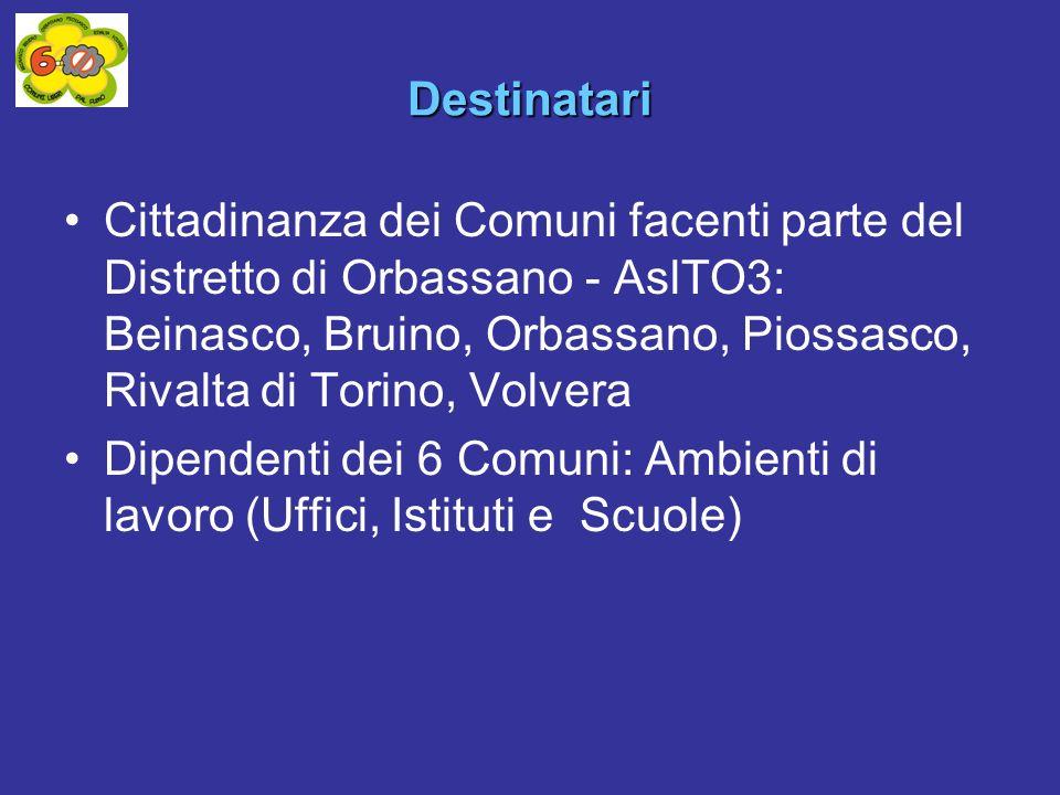 Destinatari Cittadinanza dei Comuni facenti parte del Distretto di Orbassano - AslTO3: Beinasco, Bruino, Orbassano, Piossasco, Rivalta di Torino, Volvera Dipendenti dei 6 Comuni: Ambienti di lavoro (Uffici, Istituti e Scuole)